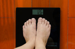 Two Feet Weighing Machine Girl Standing To Know How Weight Part Fit Keeping Plan Lass